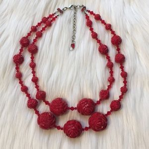 Tarina Tarantino Lucite Carved Rose Necklace